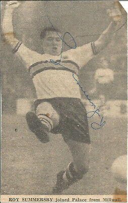 Football Autograph Roy Summersby Crystal Palace Signed Picture 9cm x 14.5cm F869