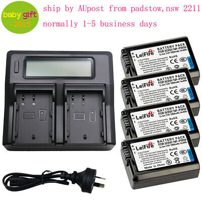 4pcs NP FW50 Battery & Dual LCD Charger Kit Set for Sony  Alpha NP-FW50 AU Ship