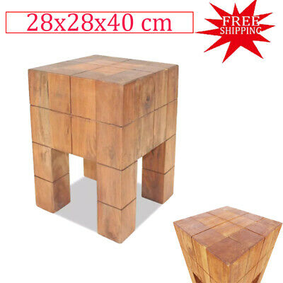 Home Stool Chair Seat Mini Coffee/Side Table Solid Reclaimed Wood  Vintage Style