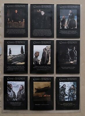 Game Of Thrones Season 7 - The Quotable Cards Full Chase Set Q61-Q69