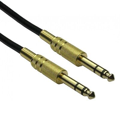 Premium Quality 6.35mm Male to Male Audio Cable - Gold Connectors Black Wire TG