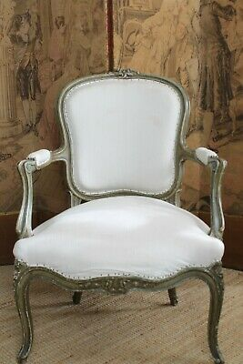 Deconstructed Antique French Fauteuil Armchair Painted 18th Century Original