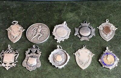 Job Lot Of 10 Silver Fobs Medals Good Condition