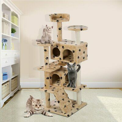 "Cat Tree Furniture Kitten House Play Tower Scratcher 52"" Beige Condo Post Bed TO"