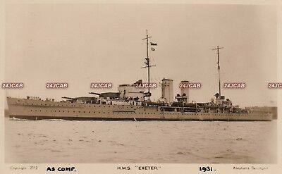 """Royal Navy Real Photo Postcard. HMS """"Exeter"""" Cruiser. Sunk by Japanese. 1931"""