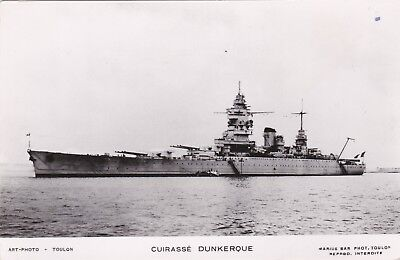 """French Navy Real Photo Postcard. """"Dunkerque"""" Battleship. Scuttled. c 1930s"""