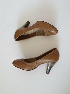Mottled Brown Leather Pumps, High Heels, by Henry of Melbourne - 1950s - Size 6