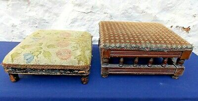 Antique Tapestry Footstools Wooden Bases Victorian / Edwardian For Restoration