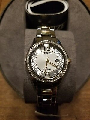 NIB Citizen Eco-Drive Women's FE1144-77A Two-Tone Crystal Watch