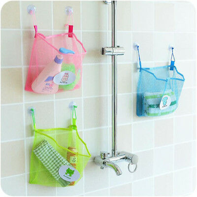 Bath Time Tidy Storage Toy Suction Cup Bag Mesh Bathroom Organiser Net P 9UK