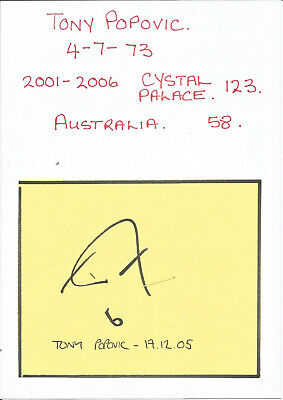 Football Autograph Tony Popovic Signed Paper Piece 12.5cm x 10cm Approx F879