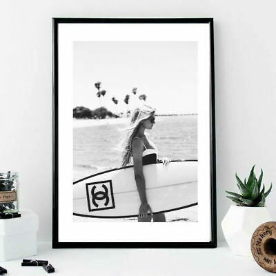 A4 Woman with Chanel surfboard california style black an white - wall print