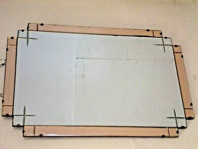 Art Deco peach Tinted & Etched Wall / Overmantle Mirror