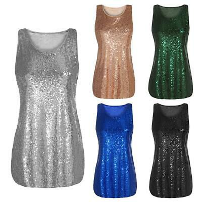 1bb72fdf32718a Women O-Neck Sleeveless Sequin Embellished Vest Tank Tops Plus Size EH7E