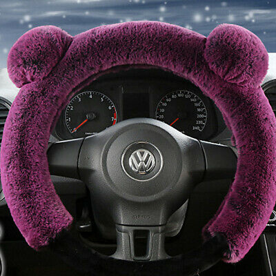 "15"" / 38cm Car Steering Wheel Cover Warm Plush Cover Panda Style Purple Winter"
