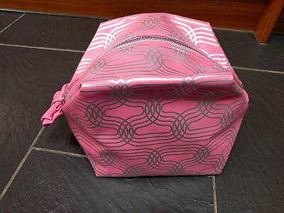 Soap & Glory Pink Silver Toiletry Cosmetic Bag Bow
