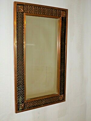 Arts & Crafts Copper Framed Wall Mirror With Bevelled Edges