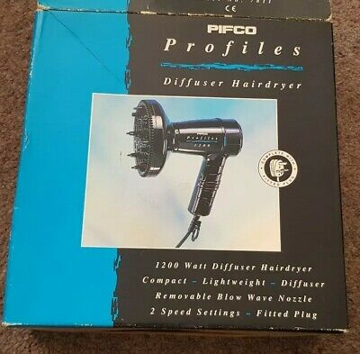 VINTAGE RARE,Pifco profiles compact 1200 watts diffuser Hair Dryer,light weight