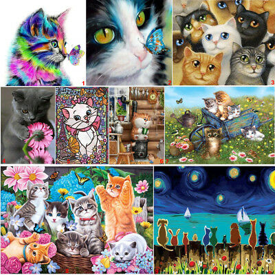 Lovely Cat DIY 5D Diamond Paint Kitten Cross Stitch Kit Home Decor Craft Art