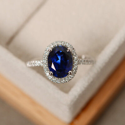 2.30 Ct Oval Cut Natural Sapphire Diamond Engagement Ring 14K White Gold Size 7