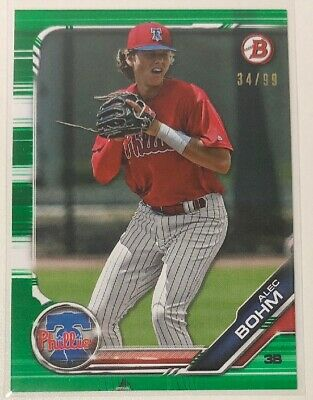 Alec Bohm 2019 Bowman Green /99 Philadelphia Phillies Rookie Mint Rare HOT