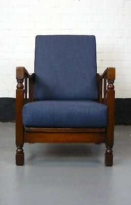 Attractive English Vintage  Oak 1930 Reclining Armchair New Cushions