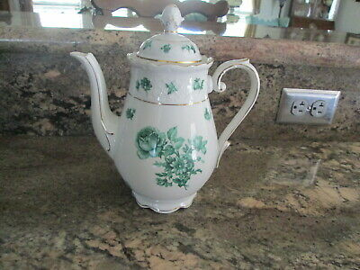 1946-1949 Bavaria Schumann Green Flower Rose Coffee Tea Server with Lid SCHSCH4