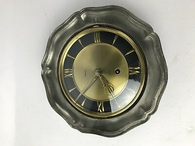 Diehl 8 Day Germany Brass Metal Wall Clock Mechanical Wind Up Vintage #1499