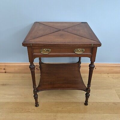 Antique Victorian Card Table Games Swivel Envelope Folding Quality Mahogany Old