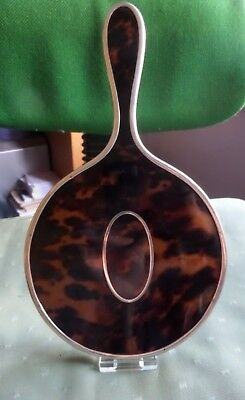 Silver Handled Hand Mirror Faux Tortoiseshell Back & Silver Pique Inlay Lon 1920