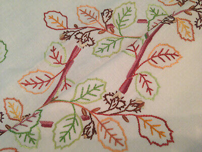 Vintage Hand Embroidered Tablecloth & Tea Cosy Cover Autumn Leaves