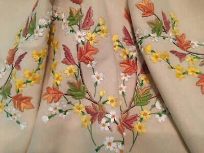 Vintage Hand Embroidered Tablecloth & Tea Cosy Cover Autumn Flowers
