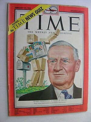TIME MAGAZINE Feb 25 1952 Sears Roebuck Wood Amon Carter Ku Klux Klan George VI