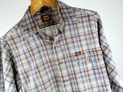 Vtg 70s 80s LEE Gray Maroon Blue Green Plaid Retro Surf Skate Button Up Shirt M