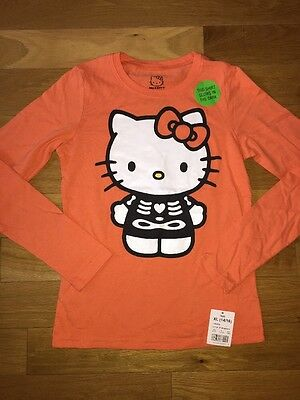 4e7b1d95 NWT Girls Skeleton Halloween Hello Kitty Glow In The Dark Orange Top shirt  XL 14