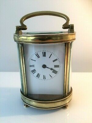 Vintage Oval French Brass 8 Day Carriage Clock Working Order