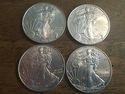 Lot Of 4 Mixed Date Silver One Ounce Silver American Eagles 2008-2009-2011-2013