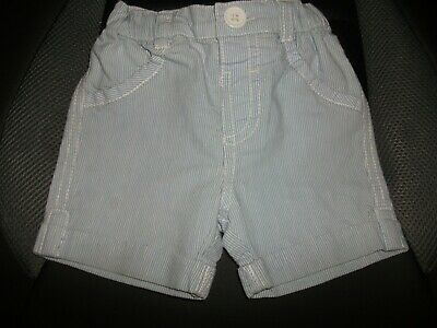 Baby Boys Blue & White Striped Shorts -Age 3-6 Months