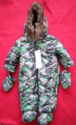 Baby's Snow Suit - Green/Grey - Bears - 0-3 Months - Gift - Brand New