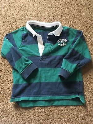 Boys 12-18 Months Mothercare Collared Polo Shirt Long Sleeve Blue Striped S/n105