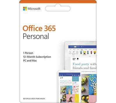 Microsoft Office 365 Personal Subscription 1 user 1 year  PC & Mac