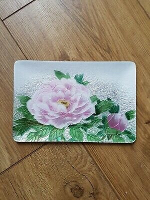 ●●Vintage Japanese Ando Cloisonne Pink Floral Enamel Tray Free Post