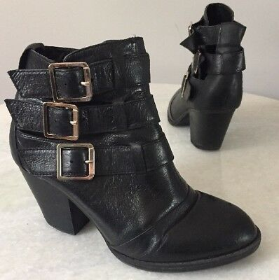 192eaf579f9 STEVE MADDEN WOMEN'S Conspire Cutout Booties Size 6.5 Black Leather ...