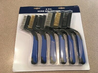 6 pc. Wire Brush Set includes Stainless, Brass and Nylon Bristles