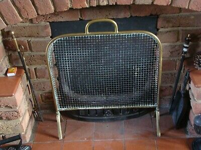 Vintage Decorative Heavy Solid Brass Frame Metal Fire Guard Fireplace Screen