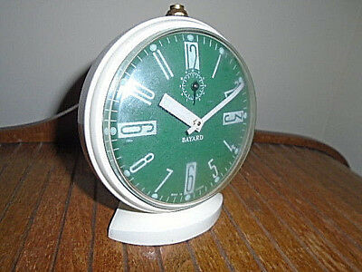 Vintage French glow-in-the-dark alarm clock midcentury Bayard mechanical working