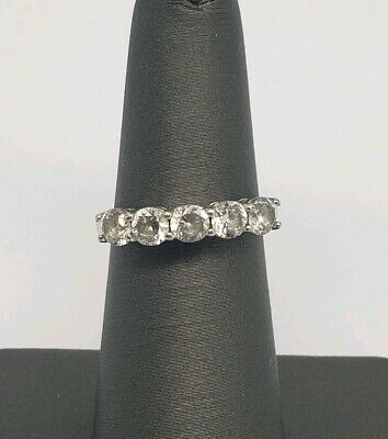 Designer Sterling Silver And Clear Cz Ring Size 6.25
