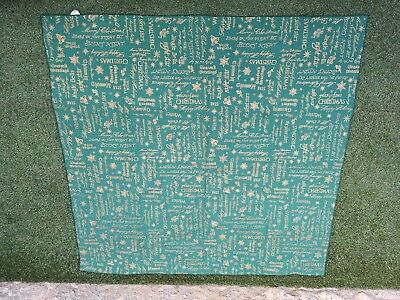 Gorgeous Christmas Emerald Green With Gold Lettering Tablecloth 130cm X 130cm