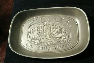 Vintage Wilton Armetale Pewter Bread Tray Our Daily Bread Grace Dish Plate