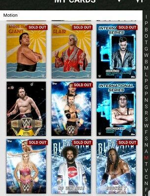 Topps WWE Slam Digital Card 9x Bundle of Motion Cards as pictured bundle 2